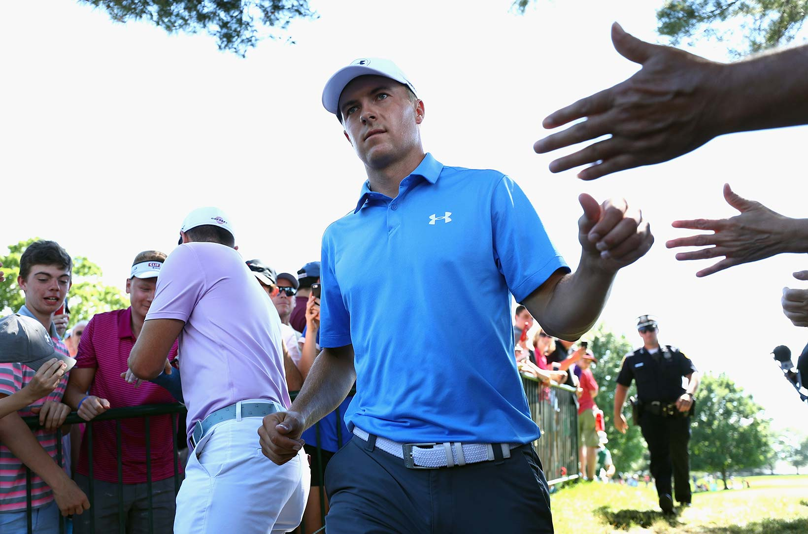 2017 Travelers Championship: Round 1 - Jordan Greets the Fans on the Turn