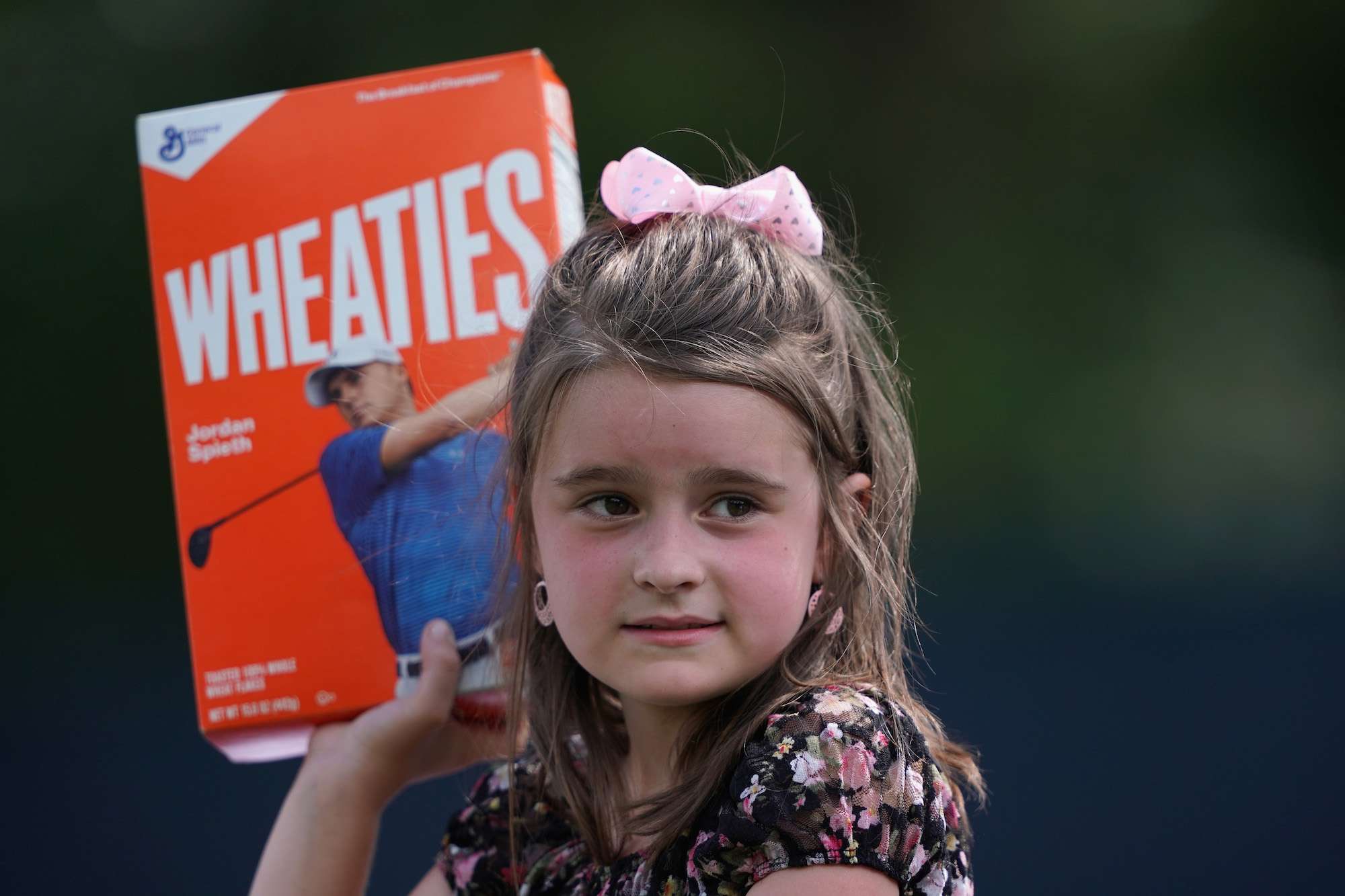 2018 PGA Championship: Preview Day 3 - Young Fan Holds Up Jordan's Wheaties Box