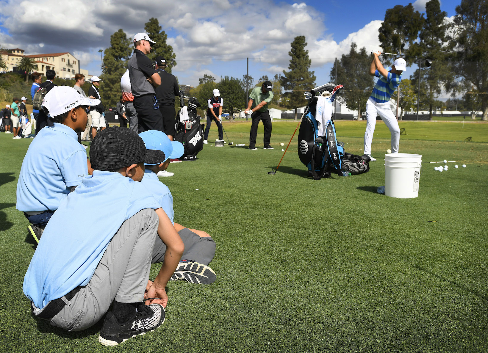 2018 Genesis Open: Pro-Am - Kids Watching Jordan at the Practice Range