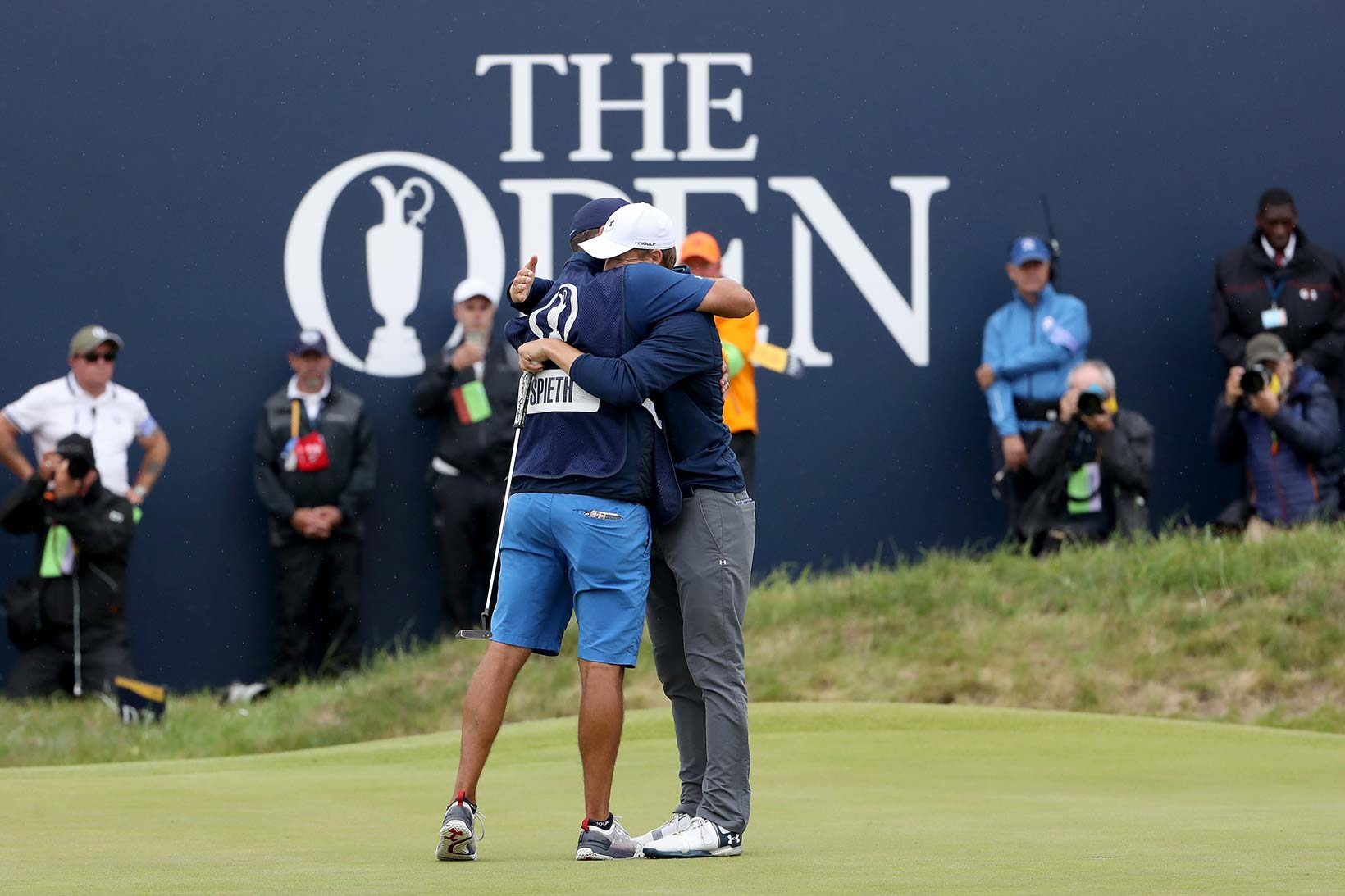 2017 Open Championship: Final Round - Jordan Celebrates the Win With Michael Greller