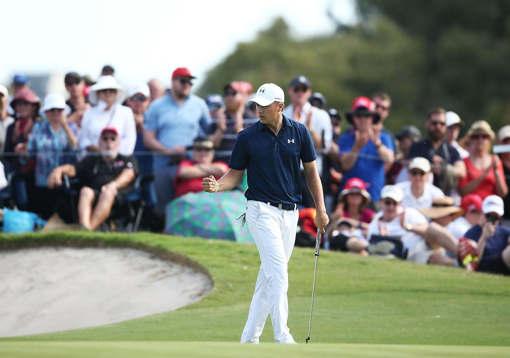 2016 Emirates Australian Open: Final Round - Jordan Holes His Birdie Putt on No. 17 in Regulation