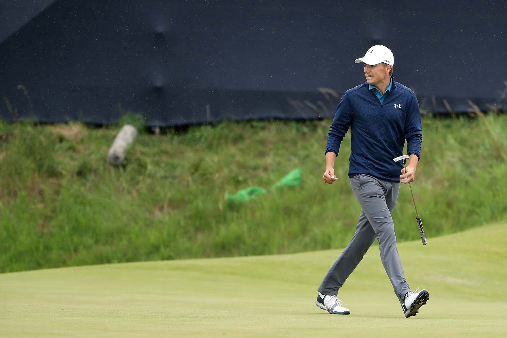 2017 Open Championship: Final Round - Jordan Celebrates Birdie Putt on No. 14