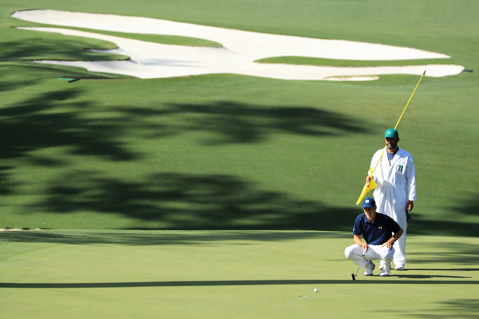 2018 Masters Tournament: Round 1 - Lining Up a Putt on No. 10